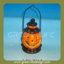 Terracotta hanging ceramic pumpkin light halloween