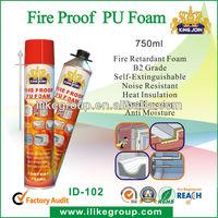 fire proof polyurethane foam insulation spray (ROHS certificate)