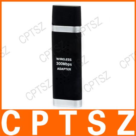 USB 2.0 2.4GHz IEEE802.11b/g/n 300Mbps WLAN Wireless Network Adapter - Black + Silver
