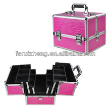 Professional Pink Makeup Artist Cosmetic Train Case w/ Key Lock Aluminum + PVC, RZ-ACS264
