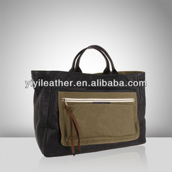 V573-New product for 2015, cancas and leather tote bag, wholesale designer handbags china