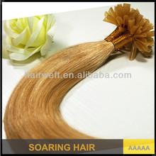 Fashionable brazilian virgin hair nail u tip hair high quality pre-bonded hair