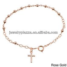 14k Gold Overlay Bead and Cross 7-inch Bracelet