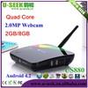 [US880] U-SEEK Wholesale Set Top android tv stick remote 2.0MP Webcam XBMC 2GB/8GB HDMI Arabic India Channels IPTV Box