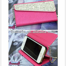 FL2973 2013 Guangzhou new arrival glitter diamond crystal handbag filp wallet leather case cover for apple iphone 5s