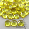 Square Cushion Lab Yellow Sapphire Synthetic Gemstone Cabochon, Smooth & Faceted Color Gemstone