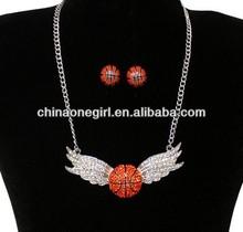 Rhinestone Winged Basketball Necklace Set