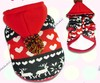 Red Christmas Fleece Dog Hoodie Clothes superwarm