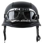 Motorcycle Biker WWII Style DOT Black Leather German Motorcycle HALF Helmet w/Pilot Goggles