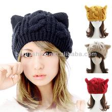 Women Horns Cat Ear Crochet Braided Knit Ski Beanie Skull Wool Hat Cap