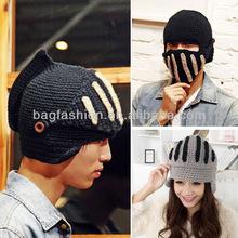 Buttons Unisex Crochet Knit Black Ski Beanie Wool Roman Knight Hat Face Mask Cap