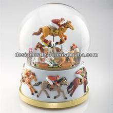 Resin Man Riding on Horse Water Globe Snow Globe
