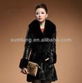 """Le plus récent style long manteau de vison fourrure d'hiver veste de fourrure de renard col v collier femme manteau"""" 11"""""""