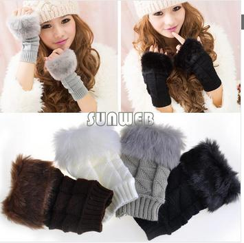 2014 Fashion Winter Warm Fur Knitted Fingerless Gloves Mitten Women Wool Gloves 4 Colors 19204