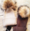 Warm Upscale Rabbit Fur Pom Pom Acrylic Knitted Hats/ Beanie Hats