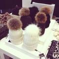 Caliente de alta categoría de piel de conejo pom pom de acrílico de punto sombreros/gorrita sombreros