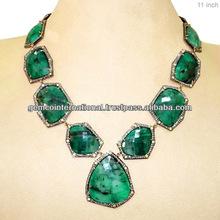 Collar Vintage con Esmeraldas Collar de Piedras Preciosas en Oro Amarillo 14k y Plata Esterlina 925 Collar Vintage con Diamante