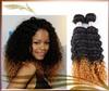 Deep Curly Brazilian Virgin Ombre Hair Extension 1b/#27 100% human Hair Weave Mix