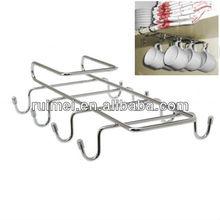 Chrome Plated Under Shelf 8 Hook Kitchen Hanging Mug Rack