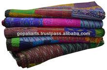 Vintage Silk Sari Twin Kantha Quilt Old Patola Silk Sari Patchwork Quilt Throw Ralli Gudari Bed Cover Blanket