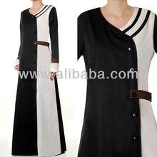 Muslim Abaya Islamic Fashion Clothing Long Sleeves Cotton Formal Career Maxi Dress