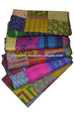 Vintage Silk Sari Queen Kantha Quilt Old Patola Silk Sari Patchwork Quilt Throw Ralli Gudari Bed Cover Blanket