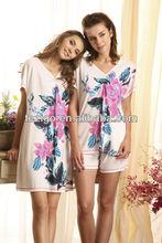 100% cotton soft lady printed pajamas for sexy women wholesale price lady popular sleepwear night suit