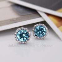 Kingman 2013 Emerald Crystal Bloom Daily Wear Stud Earrings Zinc Alloy