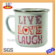 Belle Live Love Laugh Enamel Mug with stainless steel rim