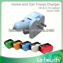 Wholesale travel emergency us plug eu pin wall car charger and usb power pack charger