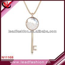 Floating Rhinestone Key Pendant Crystal Band Necklace