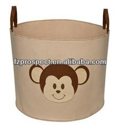 Beige with Monkey Toy Storage Bin