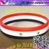 2014 World Cup:Syria flag stripes cheap customized silicone bracelet/wristband(LFGB/FDA)