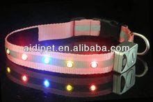 USB&solar rechargeable LED flashing 2012 christmas led fashionable dog collars