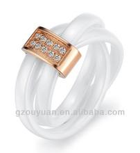 New Women's White Ceramic Wedding Band Ring Set with Diamond Inlay