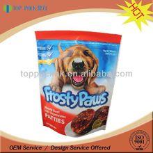 Stand up pet dog food bag with resealable zipper