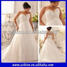 WE-2195 Strapless lace appliqued elegant empire line wedding dresses plus size bridal gown