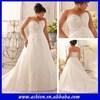 WE-2195 Strapless lace appliqued elegant empire line wedding dresses plus size bridal gown