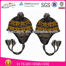 2014 Fashion Jacquard Pattern Winter Warm Cute Earflap Kids Knitted Hat