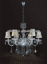 Fabric and crystal pendant lamp for hotel