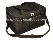 Black Polyester Lunch Box Cooler Bag Zip Out Liner Shoulder Strap Travel Tote