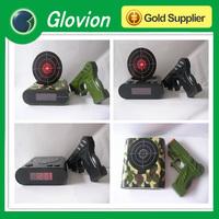 Best seller black gun target alarm clock Laser Game Gun with Alarm Clock best electronic christmas gifts 2014