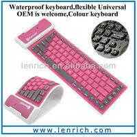 LBK118 New Arrival Wireless Waterproof Roll Silicone Bluetooth Keyboard for iPad 5/4/3/2/1