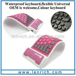 LBK118 Foldable Soft Silicone Bluetooth/Wireless Keyboard Flexible for Apple iPad