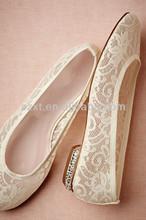 New white lace shiny sparkling flat sole ivory wedding shoe for girls