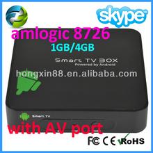 Cortex A9 1.2GHz AMLogic 8726 M3 tv box WiFi & RJ45 Ethernet 1080P HDM & AV output