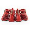Fashion Waterproof Small Dog Boots Crocodile pattern PU leather zipper Pet shoes Red [PDS-014A]