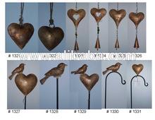 METAL HEARTS AND GARDEN STICKS