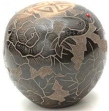 Black Hummingbird Vase - Genuine Santa Clara Pueblo Hand Coiled Mata Ortiz Pottery