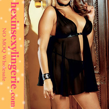 Fashion Woman Black Silk Fashion Plus Size Lingerie Wholesale